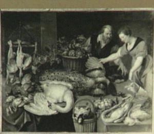 Dame met een hond zoekt gevogelte uit in een marktkraam