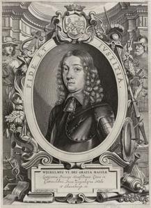Portret van Wilhelm VI van Hessen-Kassel (1629-1663) in een allegorische omlijsting