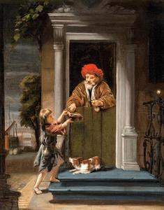 Een man geeft aalmoezen aan een kind