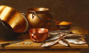 Stilleven met koperwaar en vis