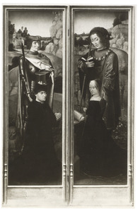 De H. Adrianus met stichter (links); De H. Jacobus Major met stichtster (rechts)