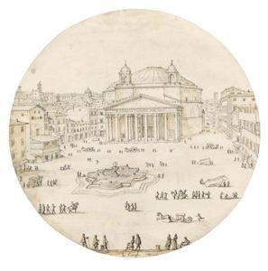 Zicht op het Pantheon en Piazza della Rotonda in Rome