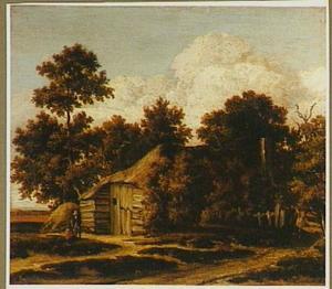 Landschap met een boerderij aan een bosrand