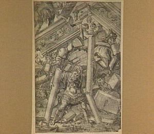Simson doet de zuilen van de tempel instorten (Richteren 16:29-30)