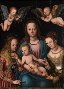 Maria met kind en de heiligen Catharina en Barbara