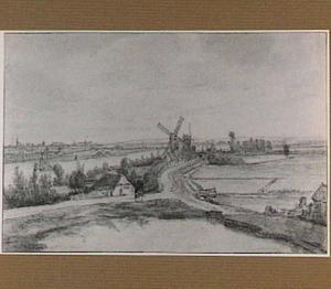 Rivierlandschap met windmolens (in Overijssel?)
