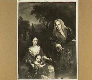 Groepsportret van Adriaan Snouck (..-1725) zijn eerste echtgenote Cornelia Maria Zuydtland (..-1716) en hun dochtertje Erkenraad (1709-1770)