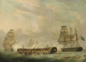 Handeling bij de zee: franse fregat zonder masten