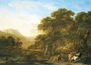 Bebost berglandschap met nimfen en een dansende sater