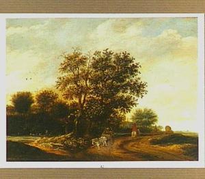 Landschap met reizigers op een weg langs een bosrand