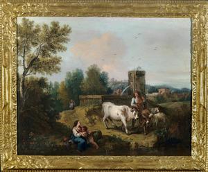 Italiaans landschap met een herdersfamilie