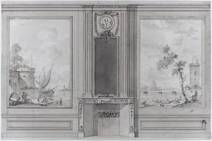 Zijwand met twee behangselvlakken ter weerszijden van een schoorsteen
