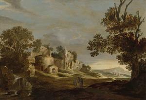 Landschap met de Emmausgangers (op de achtergrond: Rome, tempel van Marcus Curtius ofwel S. Teodoro op de Palatijn)