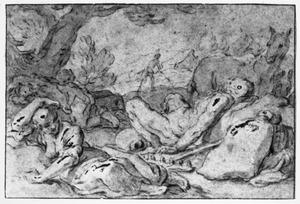 De parabel van het onkruid onder het tarwe: de duivel zaait onkruid terwijl de akkerbouwers slapen (Mattheus 13:25)