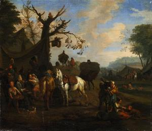 Tentenkamp met soldaten en paarden
