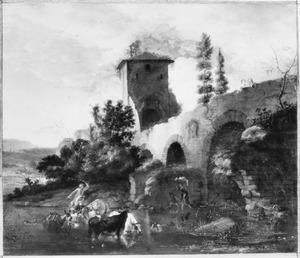 Zuidelijk landschap met herders en vee bij een brug