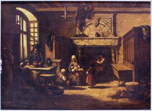 Interieur met een familiegroep