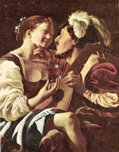Een luitspeler minnekozend met een jonge vrouw met een roemer in de hand