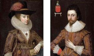 Portret van Sir Thomas Cowdray en zijn vrouw, Lady Crowday