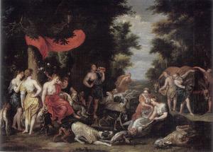 Diana met haar nimfen, honden en jachtbuit in een landschap