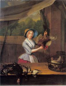 Marktkoopvrouw in kraam met gevogelte