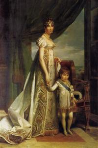 Portret van Hortense Eugenie de Beauharnais (1783-1837) en Napoleon Louis Bonaparte (1804-1831)
