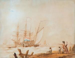 Het vertrek van zeilschepen op zee