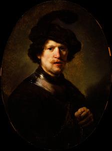 Borststuk van een man met halsberg en gepluimde baret