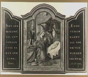 Het Christuskind aanbeden door Maria en Jozef