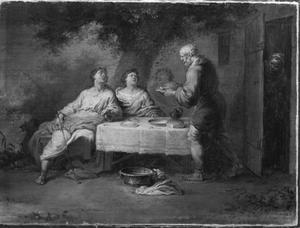 Abraham bedient de drie engelen (Genesis 18:8-12)