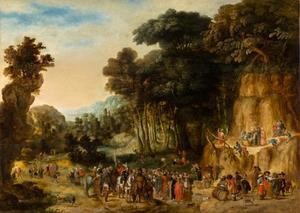 Bebost berglandschap met de prediking van Johannes de Doper