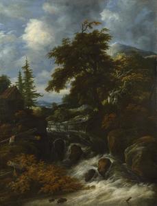 Heuvelachtig landschap met een waterval en een hut