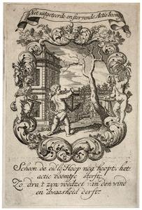 Allegorische voorstelling met amor en anker, in een cartouche