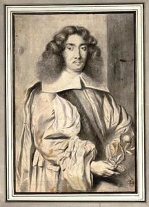 Portret van een onbekende man met een sinaasappeltakje in de hand