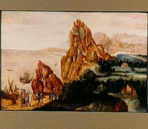 Berglandschap met Christus predikend vanaf het meer