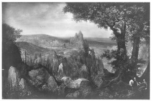 Landschap met de verzoeking van Christus (Lucas 4:1-13)