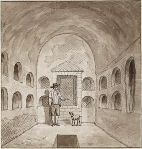 Gids in een catacombe bij Pozzuoli