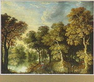 Boslandschap met een marskramer en een hond op een pad