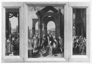 De drie aanvoerders voor David met het water uit de put bij de poort van Bethlehem (links), de aanbidding van de Wijzen (midden), de koningin van Seba knielt voor koning Salomo (rechts)
