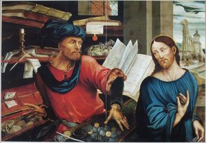 De roeping van Matteüs (Marcus 2:1-12) met op de achtergrond de genezing van de zieken en kreupelen bij het bad van Betesda (Johannes 5:1-15)