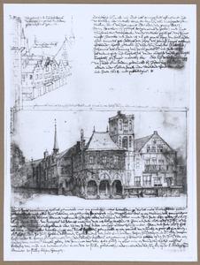Het oude stadhuis van Amsterdam en een gezicht op de Nieuwe Kerk