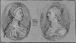Portretmedaillons van een echtpaar in klassiek gewaad