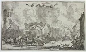 Het dorp Nigtevecht tijdens de verwoesting door Franse troepen op 11 februari 1673
