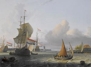 Oorlogschepen op het IJ, in het midden de Amsterdamse molen De Bok op het bolwerk Leeuwenburg (ook wel Blauwhoofd genoemd), rechts het tolhuis