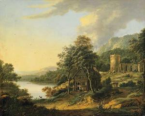 Landschap met huis, figuren en ruinetoren in achtergrond