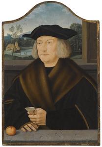 Portret van een man met een brief in zijn hand, voor een venster