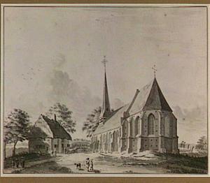 Gezicht in het dorp Aalst met rechts de kerk