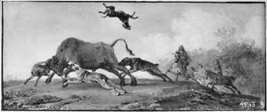 Taferelen uit het leven van de jager: jacht op een stier