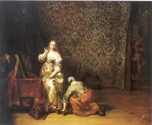 Vrouw aan haar kaptafel en een dienstmeid in een interieur en een man die het vertrek binnensluipt