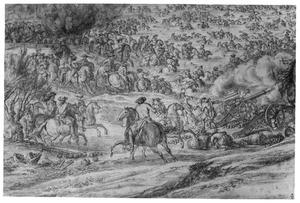 Het leger van Lodewijk XVI trekt de Rijn over bij Lobith, 12 juni 1672